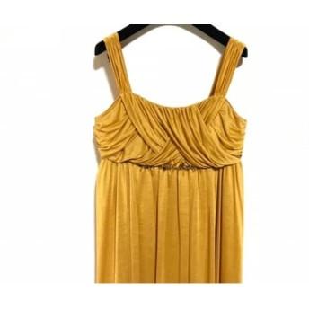 【中古】 エメ ドレス サイズ9 M レディース イエロー ダークブラウン マルチ ビジュー/ビーズ/胸パッド