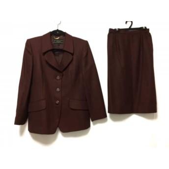 【中古】 レリアン Leilian スカートスーツ サイズ9 M レディース ボルドー ダークブラウン ヘリンボーン