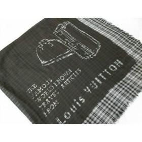 【中古】 ルイヴィトン ストール(ショール) 美品 ダークグレー 黒 グレー チェック柄 ウール シルク