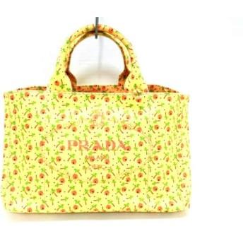 【中古】 プラダ PRADA トートバッグ 美品 CANAPA 1BG877 イエロー オレンジ マルチ キャンバス