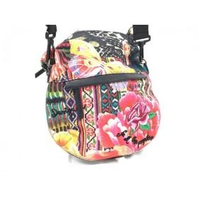 【中古】 デシグアル Desigual ハンドバッグ ピンク 黒 マルチ 花柄/刺繍 化学繊維 合皮 スパンコール