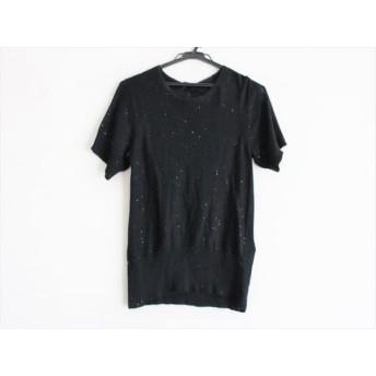 【中古】 ドゥロワー Drawer 半袖セーター サイズ1 S レディース 黒 スパンコール
