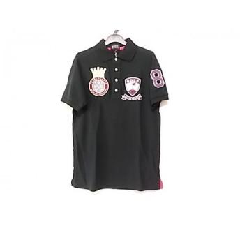 【中古】 パーリーゲイツ PEARLY GATES 半袖ポロシャツ サイズ3 L メンズ 美品 黒 パープル マルチ