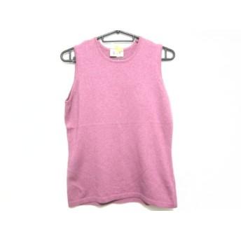 【中古】 ハロッズ HARRODS ノースリーブセーター サイズS レディース 美品 ピンク