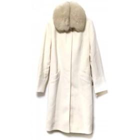【中古】 クミキョク 組曲 KUMIKYOKU コート サイズ3 L レディース 白 ベージュ ファー/冬物