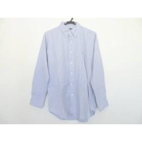 【中古】 ラルフローレン RalphLauren 長袖シャツ サイズ16 メンズ 白 ブルー 黒 チェック柄