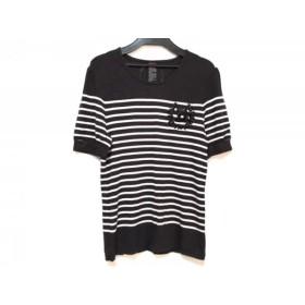 【中古】 ダブルスタンダードクロージング 半袖Tシャツ サイズF レディース 黒 ベージュ ビーズ/ボーダー