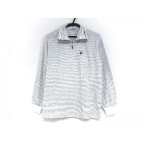 【中古】 ブラック&ホワイト 長袖ポロシャツ サイズM レディース 白 マルチ ジップアップ/ボーダー