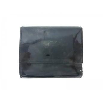 【中古】 ツチヤカバンセイゾウショ 土屋鞄製造所 3つ折り財布 美品 黒 ラメ エナメル(レザー)