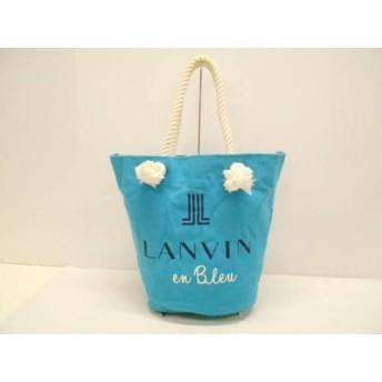 【中古】 ランバンオンブルー LANVIN en Bleu トートバッグ ブルー アイボリー キャンバス