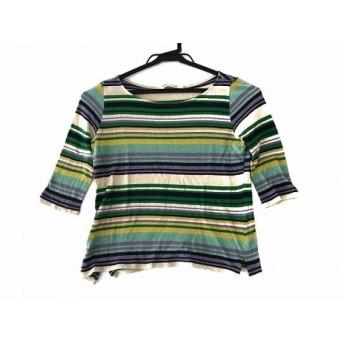 【中古】 シビラ 七分袖Tシャツ サイズM レディース ベージュ グリーン マルチ SYBILLA PLAYA/ボーダー