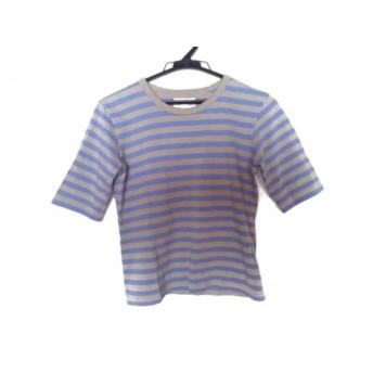 【中古】 アニエスベー agnes b 半袖Tシャツ サイズ1 S レディース パープル ベージュ ボーダー