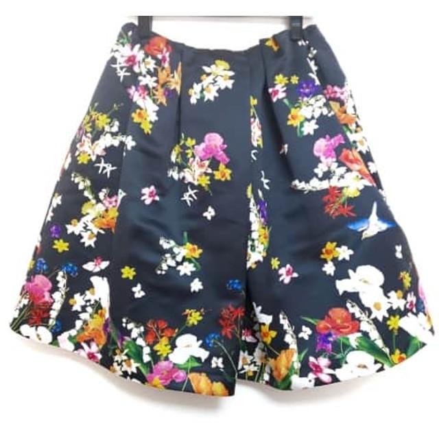 【中古】 チェスティ Chesty スカート サイズ0 XS レディース 黒 イエロー マルチ 花柄