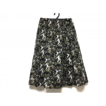 【中古】 マッキントッシュフィロソフィー スカート サイズ34 M レディース 黒 白 マルチ 花柄