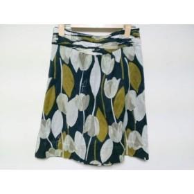 【中古】 トリーバーチ TORY BURCH スカート サイズ2 S レディース ダークネイビー 白 ブラウン 花柄