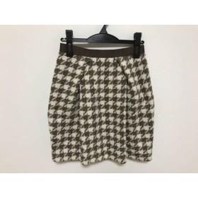【中古】 ジャスグリッティー JUSGLITTY ミニスカート サイズ2 M レディース アイボリー ブラウン