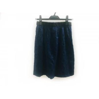 【中古】 マッキントッシュフィロソフィー スカート サイズ38 L レディース ネイビー 黒 フラワー/刺繍