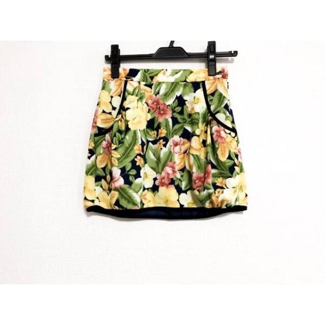 【中古】 リリーブラウン ミニスカート サイズ0 XS レディース イエロー グリーン マルチ 花柄