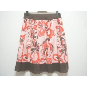 【中古】 アプワイザーリッシェ スカート サイズ2 M レディース レッド ピンク ダークブラウン 花柄