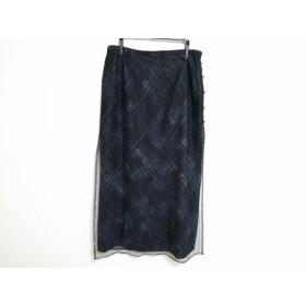 【中古】 レリアン ロングスカート サイズ11 M レディース 黒 グレー アイボリー チュール/チェック柄