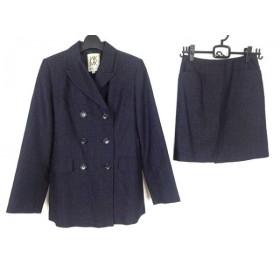 【中古】 ミッシェルクラン スカートスーツ レディース ダークネイビー 肩パッド/パンツ付き3点セット