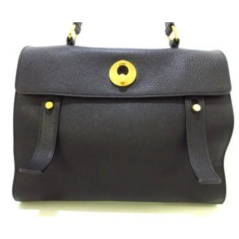 【中古】 サンローランパリ ハンドバッグ 美品 ミューズトゥ ミディアム 313456 黒 レザー キャンバス