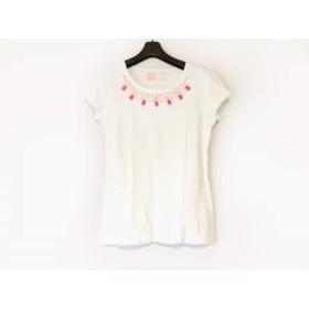 【中古】 レディ 半袖Tシャツ サイズF レディース 美品 白 アイボリー クリア ビジュー/ラインストーン