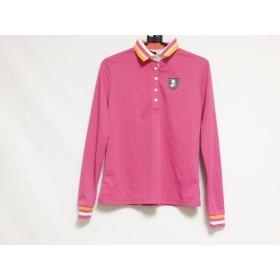 【中古】 ランバンスポーツ 長袖ポロシャツ サイズ36 S レディース 美品 ピンク 白 オレンジ