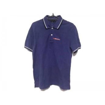 【中古】 プラダ PRADA 半袖ポロシャツ サイズS メンズ ブルー 白