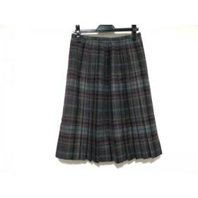【中古】 レリアン スカート サイズ13 L レディース ダークグレー グレー マルチ プリーツ/チェック柄