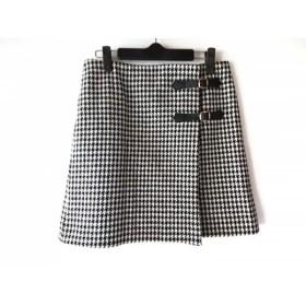 【中古】 ニジュウサンク 23区 巻きスカート サイズ38 M レディース 黒 白 千鳥格子