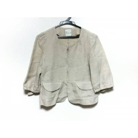 【中古】 ティアラ Tiara ジャケット レディース 美品 ベージュ リボン