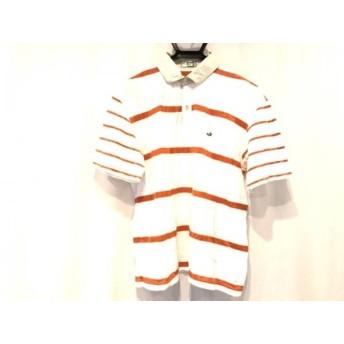 【中古】 ラコステ Lacoste 半袖ポロシャツ サイズLL メンズ 白 オレンジ ボーダー