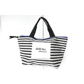 【中古】 ジルバイジルスチュアート ハンドバッグ 美品 黒 白 ベージュ ボーダー 化学繊維 ナイロン