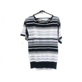 【中古】 ボッシュ BOSCH 半袖セーター サイズ38 M レディース グレー 黒 白