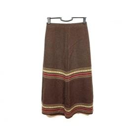 【中古】 ホコモモラ ロングスカート サイズ40 XL レディース ダークブラウン アイボリー マルチ