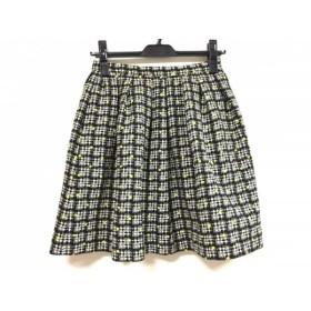 【中古】 アニエスベー agnes b ミニスカート サイズ36 S レディース 美品 黒 白 ライトグリーン