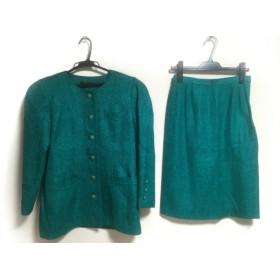 【中古】 レリアン Leilian スカートスーツ サイズ9 M レディース グリーン 黒
