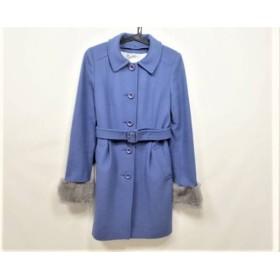 【中古】 クミキョク 組曲 KUMIKYOKU コート サイズ2 M レディース ブルー ラビットファー/冬物