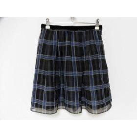 【中古】 アプワイザーリッシェ スカート サイズ1 S レディース 黒 グレー ブルー チェック柄
