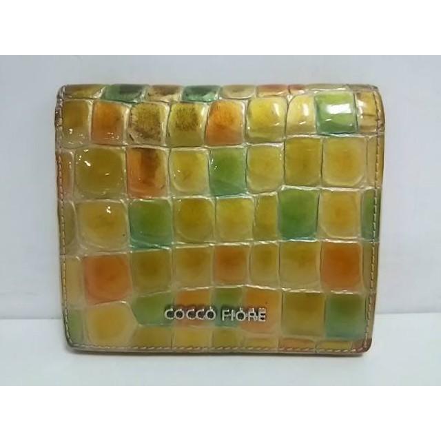【中古】 コッコフィオーレ 2つ折り財布 イエロー ライトグリーン 型押し加工 エナメル(レザー)
