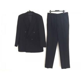 【中古】 アルマーニコレッツォーニ ダブルスーツ メンズ 黒 ダークネイビー ストライプ/ダブル/肩パッド