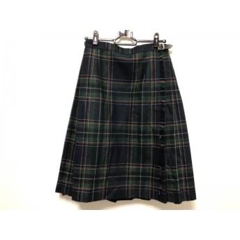 【中古】 オニール 巻きスカート サイズ38 M レディース ネイビー ダークグリーン マルチ チェック柄