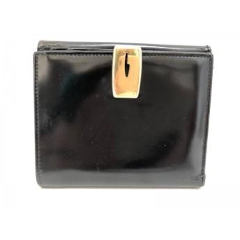 【中古】 グッチ GUCCI 2つ折り財布 - - 黒 エナメル(レザー)