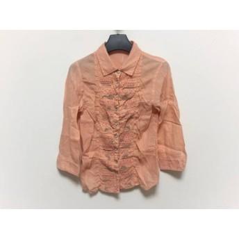 【中古】 マリテフランソワジルボー 七分袖シャツブラウス サイズS レディース オレンジ ベージュ 刺繍