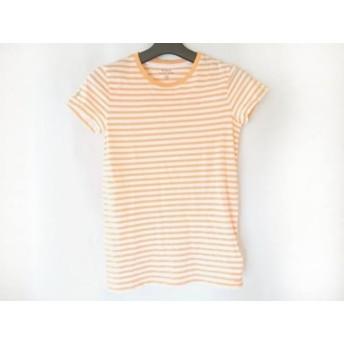 【中古】 ポロラルフローレン 半袖Tシャツ サイズXS レディース 白 ライトブラウン ボーダー