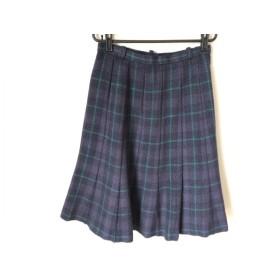 【中古】 レリアン Leilian ロングスカート サイズ9 M レディース ネイビー グリーン チェック柄