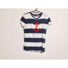 【中古】 ラルフローレン 半袖Tシャツ サイズM レディース 白 ダークネイビー レッド ボーダー/ビーズ