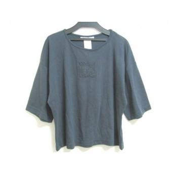 【中古】 アンクライン ANNE KLEIN 七分袖Tシャツ サイズPETITE レディース ネイビー
