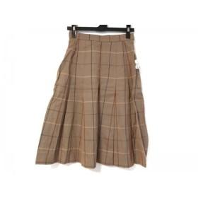 【中古】 バーバリーズ Burberry's スカート サイズ7 S レディース ベージュ レッド マルチ チェック柄